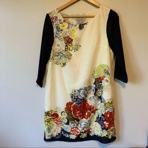 H&M cream spring floral print shift dress size 6